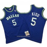 Camiseta Dallas Mavericks Jason Kidd #5 Mitchell & Ness Hardwood Classics Azul