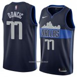 Camiseta Dallas Mavericks Luka Doncic #77 Statement 2017-18 Azul