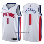 Camiseta Detroit Pistons Reggie Jackson #1 Association 2017-18 Blanco