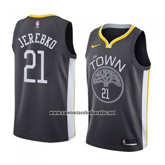 Camiseta Golden State Warriors Jonas Jerebko #21 Statement 2018 Negro