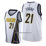 Camiseta Indiana Pacers Indiana Pacers Thaddeus Young #21 Earned Edition Blanco
