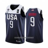 Camiseta USA Jaylen Brown #9 2019 FIBA Basketball World Cup Azul