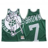 Camiseta Boston Celtics Jaylen Brown #7 Mitchell & Ness Big Face Verde