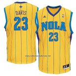 Camiseta Historic New Orleans Hornets Anthony Davis #23 Amarillo