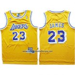 Camiseta Los Angeles Lakers Lebron James #23 Amarillo