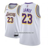 Camiseta Los Angeles Lakers Lebron James #23 Association 2018-19 Blanco