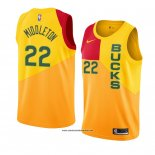 Camiseta Milwaukee Bucks Khris Middleton #22 Ciudad 2018-19 Amarillo