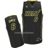 Camiseta Electricidad Moda Miami Heat Lebron James #6 Negro