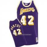 Camiseta Los Angeles Lakers James Worthy #42 Retro Violeta