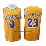Camiseta Los Angeles Lakers Lebron James #23 Mitchell & Ness Amarillo