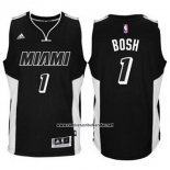 Camiseta Miami Heat Chris Bosh #1 Negro Blanco