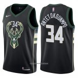Camiseta Milwaukee Bucks Giannis Antetokounmpo #34 2017-18 Negro