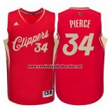 Camiseta Navidad 2015 Los Angeles Clippers Paul Pierce #34 Rojo