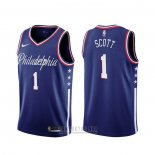 Camiseta Philadelphia 76ers Mike Scott #1 Ciudad 2019-20 Azul