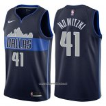 Camiseta Dallas Mavericks Dirk Nowitzki #41 Statement 2017-18 Azul