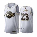 Camiseta Golden Edition Los Angeles Lakers Lebron James #23 Blanco