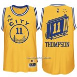 Camiseta Golden State Warriors Klay Thompson #11 Retro City Bus Amarillo