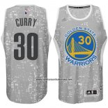 Camiseta Luces De La Ciudad Golden State Warriors Stephen Curry #30 Gris