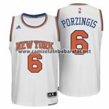 Camiseta New York Knicks Kristaps Porzingis #6 Blanco
