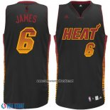 Camiseta Ambiente Miami Heat Lebron James #6 Negro