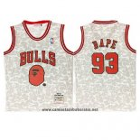 Camiseta Chicago Bulls Bape Mitchell & Ness 1997-98 Gris