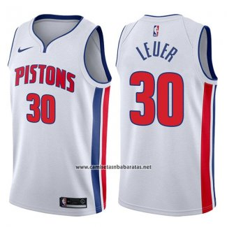 Camiseta Detroit Pistons Jon Leuer #30 Association 2017-18 Blanco