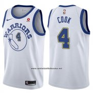 Camiseta Golden State Warriors Quinn Cook #4 Classic 2017-18 Blanco