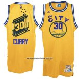 Camiseta Golden State Warriors Stephen Curry #30 Retro City Bus Amarillo