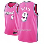 Camiseta Miami Heat Kelly Olynyk #9 Earned 2018-19 Rosa