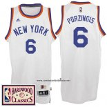 Camiseta New York Knicks Kristaps Porzingis #6 Retro Blanco