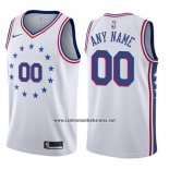 Camiseta Philadelphia 76ers Personalizada Earned 2019-20 Blanco