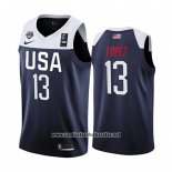 Camiseta USA Brook Lopez #13 2019 FIBA Basketball World Cup Azul
