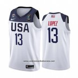 Camiseta USA Brook Lopez #13 2019 FIBA Basketball World Cup Blanco