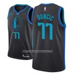 Camiseta Dallas Mavericks Luka Doncic #77 Ciudad 2018-19 Azul