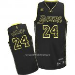 Camiseta Electricidad Moda Los Angeles Lakers Kobe Bryant #24 Negro