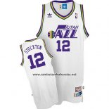 Camiseta Utah Jazz John Stockton #12 Retro Blanco