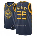 Camiseta Golden State Warriors Kevin Durant #35 Ciudad 2018-19 Azul