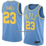 Camiseta Los Angeles Lakers Lebron James #23 Classic 2017-18 Azul