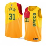 Camiseta Milwaukee Bucks John Henson #31 Ciudad 2018-19 Amarillo