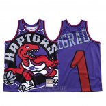 Camiseta Toronto Raptors Tracy Mcgrady #1 Mitchell & Ness Big Face Violeta
