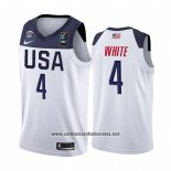 Camiseta USA Derrick Blanco #4 2019 FIBA Basketball World Cup Blanco