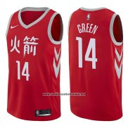 Camiseta Houston Rockets Gerald Green #14 Ciudad 2017-18 Rojo