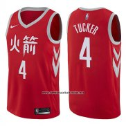 Camiseta Houston Rockets P.j. Tucker #4 Ciudad 2017-18 Rojo