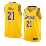 Camiseta Los Angeles Lakers Travis Wear #21 Icon 2018-19 Amarillo