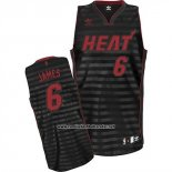 Camiseta Ranura Moda Miami Heat Lebron James #6 Negro