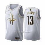 Camiseta Golden Edition Houston Rockets James Harden #13 2019-20 Blanco