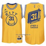 Camiseta Golden State Warriors Festus Ezeli #31 Retro City Bus Amarillo