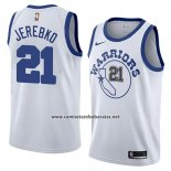 Camiseta Golden State Warriors Jonas Jerebko #21 Hardwood Classic 2018-19 Blanco