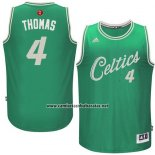 Camiseta Navidad 2015 Boston Celtics Isaiah Thomas #4 Verde