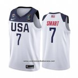 Camiseta USA Marcus Smart #7 2019 FIBA Basketball World Cup Blanco